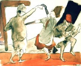 Die Pulcinelli, Freudiger Tanz - H 69cm x B 49cm - 1995